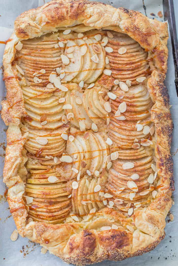 This pear almond galette is a fall-must have with juicy tender pears cooked on top of an almond frangipane inside a flaky puff pastry crust.