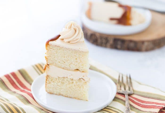 This brown butter cake with maple caramel buttercream starts with a rich nutty brown butter cake wrapped in a sweet maple caramel buttercream.