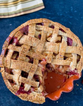 Add a little color to your classic apple pie with cranberries. This cranberry apple pie is the perfect combination of sweet and tart in every slice.
