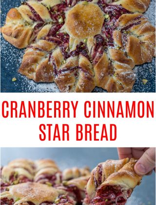 This Cranberry Cinnamon Star Bread is a holiday spectacular with a warm cranberry, brie and pistachio filling wrapped around a fluffy bread.