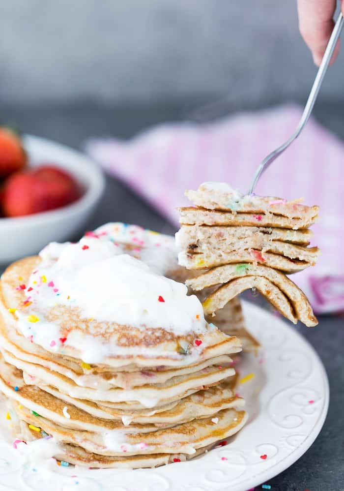 Whether you are making these funfetti buttermilk pancakes for yourself, a special someone or just because, these pancakes are perfect for any morning!