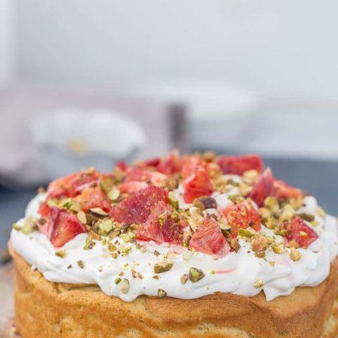 Orange Chiffon Cake with Pistachio-Cardamom Swirls