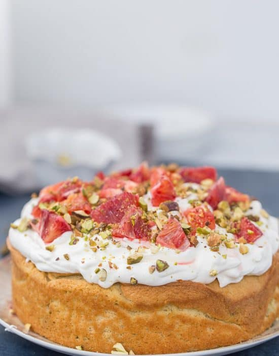 Orange Chiffon Cake with Pistachio-Cardamom Swirls