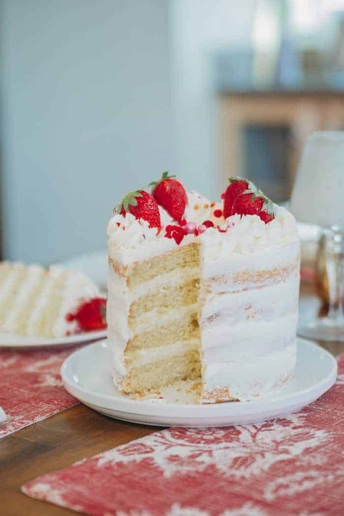 Strawberry Naked Cake with Rose Buttercream