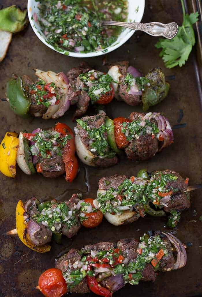 Beef Kebabs with Chimichurri Sauce