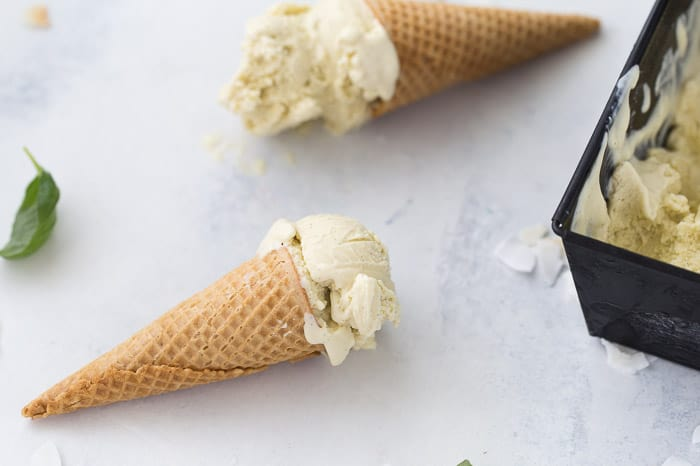 Coconut Basil Ice Cream