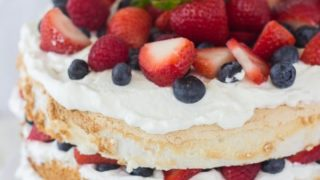 Angel food cake with coconut whipped cream and berries a classic twist angel food cake with coconut whipped cream and berries forumfinder Choice Image