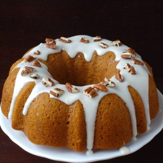 Pumpkin Bundt Cake with Bourbon Cream Cheese Frosting