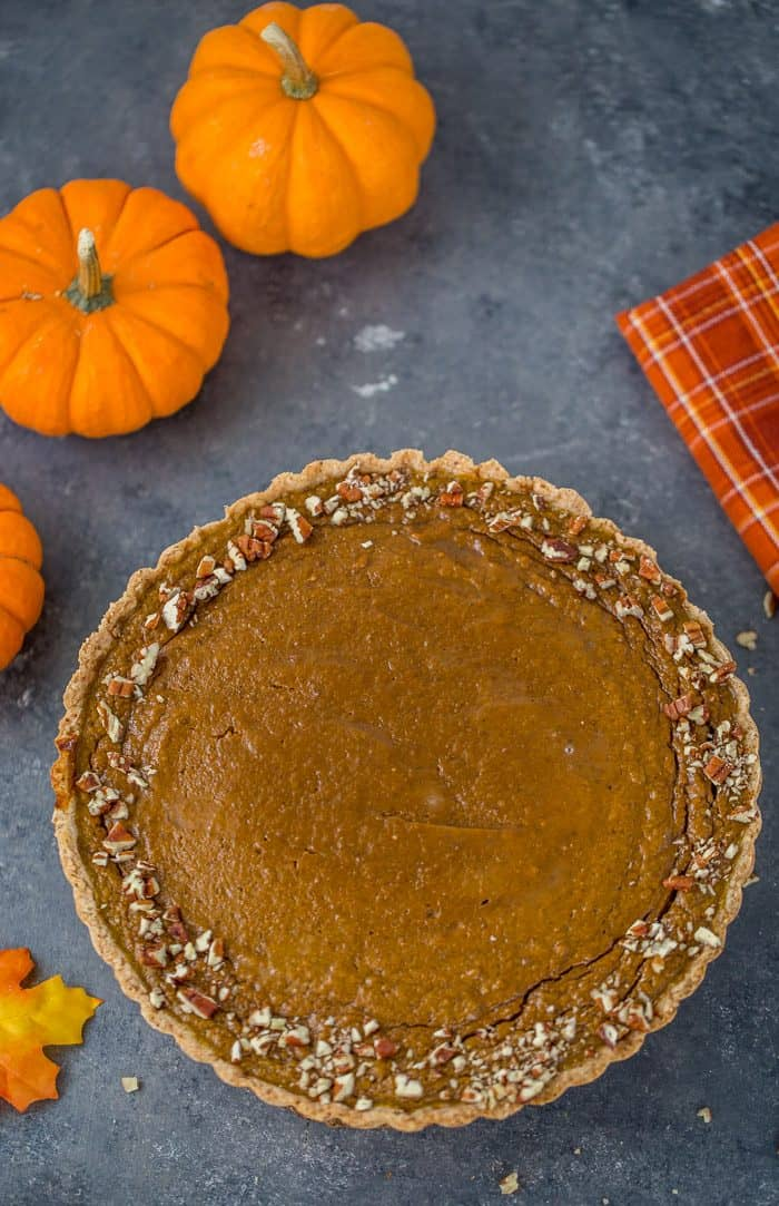 Pumpkin Maple Tart with Spiced Pecan Crust
