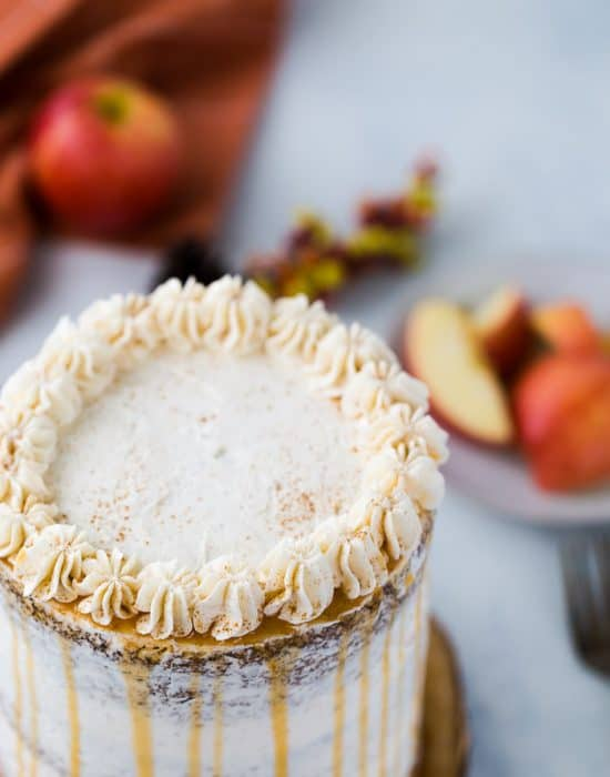 apple spice layer cake with cinnamon frosting