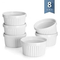 Porcelain Souffle Dishes, Ramekins - 8 Ounce - Set of 6, White
