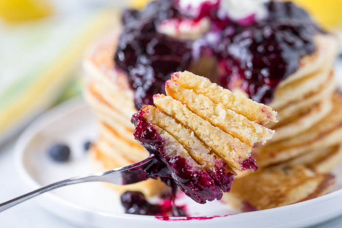 Lemon Ricotta Pancakes with Blueberry Compote