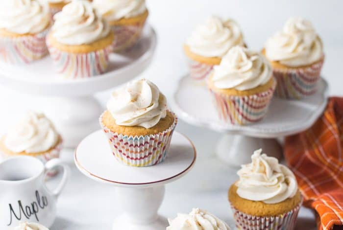 Cinnamon Cupcakes with Maple Frosting