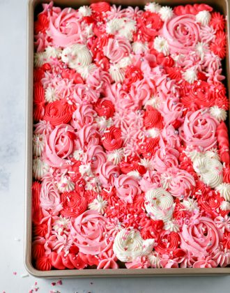 valentine's day sheet cake