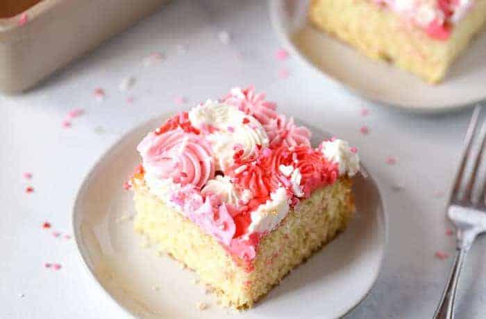 valentine's heart sheet cake