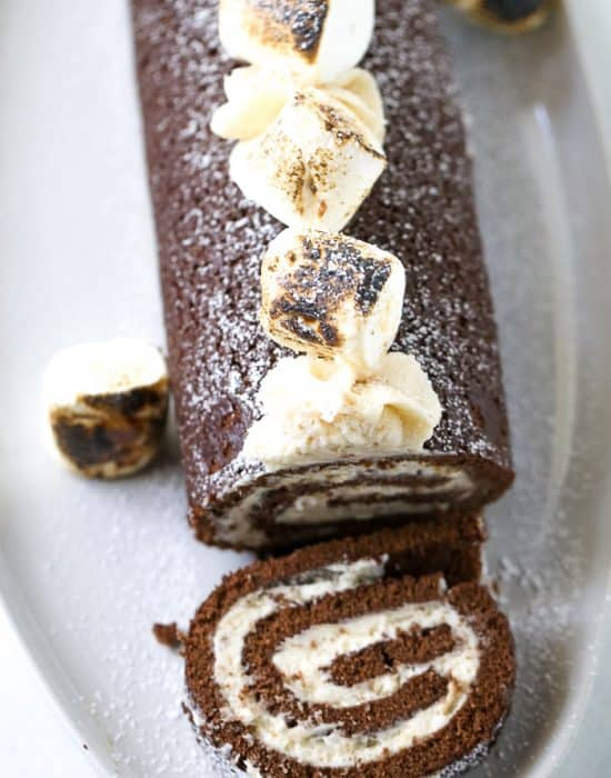 Chocolate Swiss Roll Cake with Toasted Marshmallow Frosting