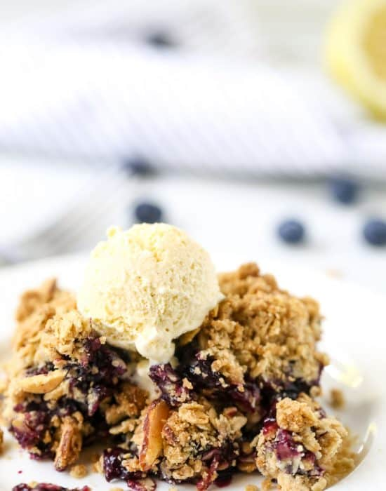 Blueberry Crumble with a Browned Butter Oat Topping