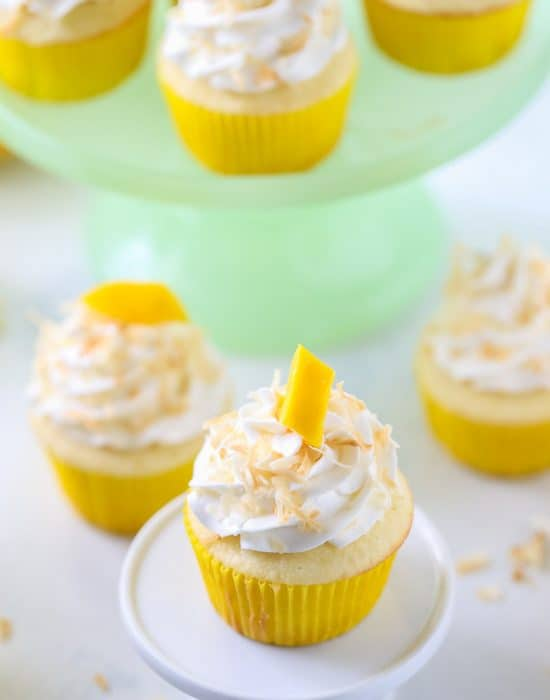 Tropical Mango Coconut Cupcakes