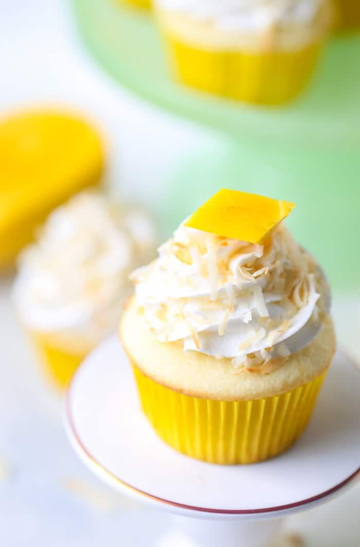 Tropical Mango Coconut Cupcakes