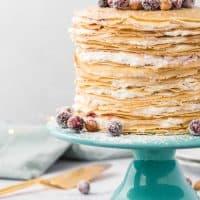 Cranberry Hazelnut Crepe Cake