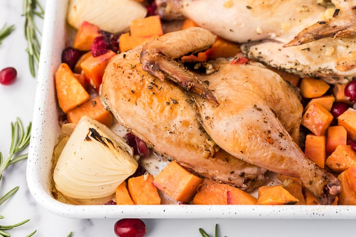 Easy Chicken with Sweet Potatoes and Cranberries