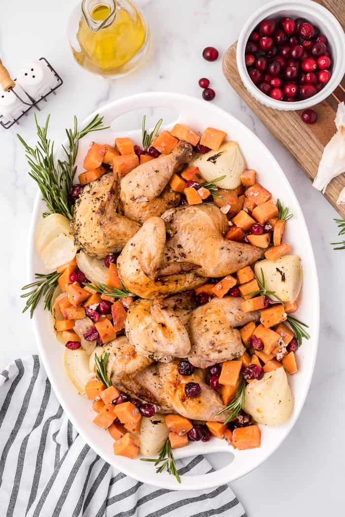 Sheet Pan Chicken with Sweet Potatoes and Cranberries