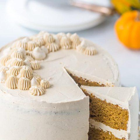 Spiced Pumpkin Cake with Brown Sugar Swiss Meringue Buttercream
