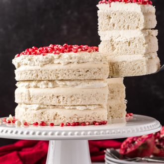 White Chocolate Pomegranate Vanilla Cake