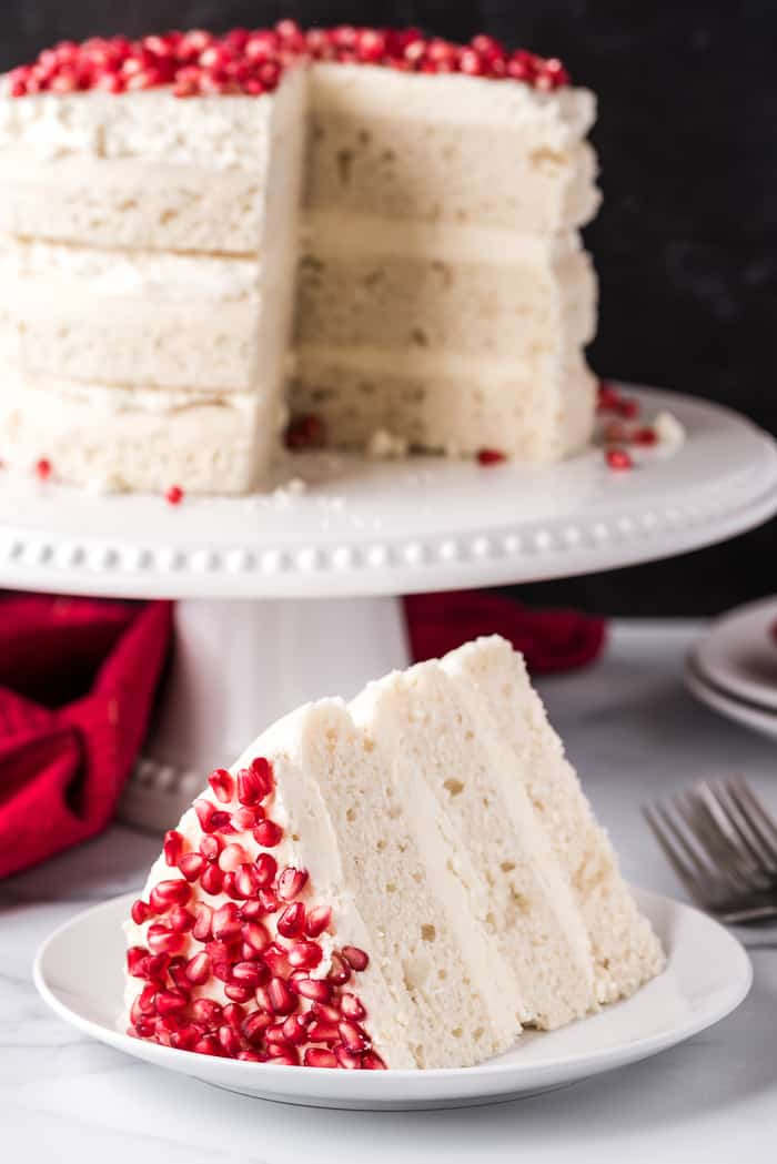 White Chocolate Pomegranate Vanilla Cake