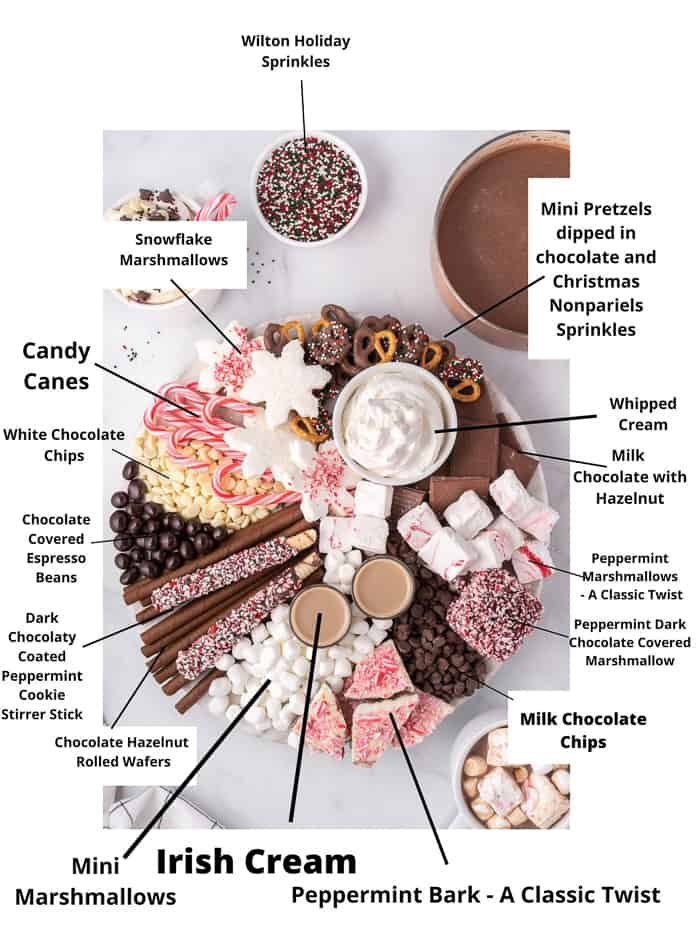 hot chocolate charcuterie board ingredients