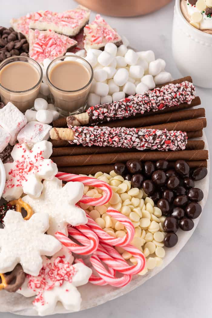 close up of hot chocolate charcuterie board