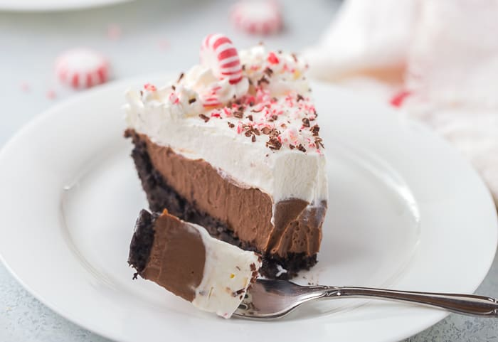 No Bake Peppermint Mocha Pie