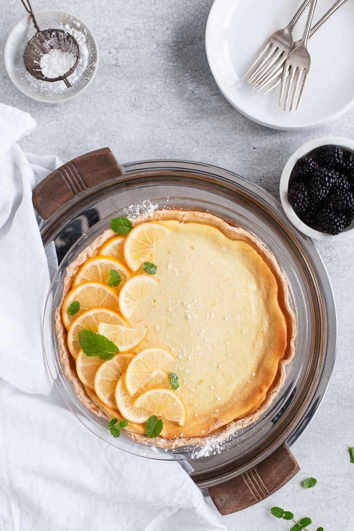 Buttermilk Pie with Blackberry Sauce