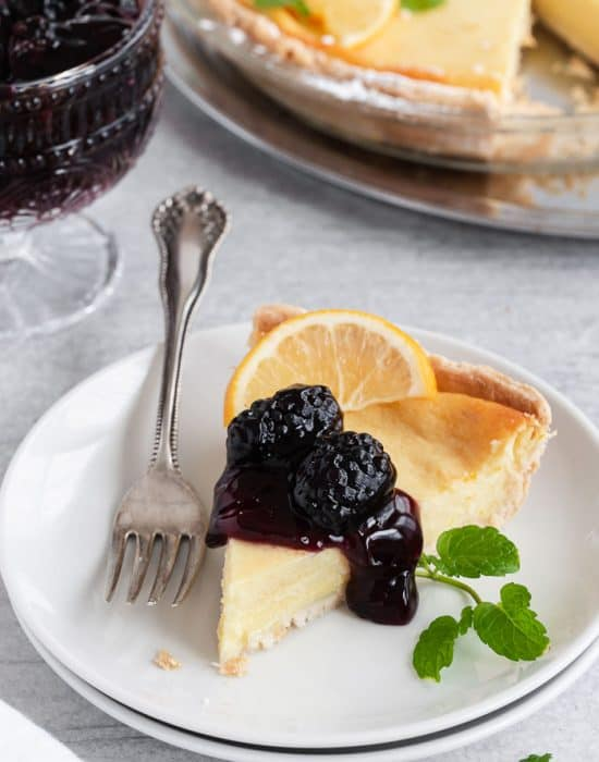 Buttermilk Pie with Blackberry Sauce