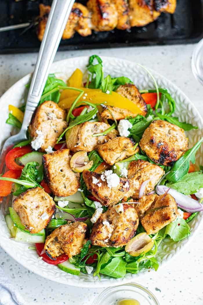 Chicken Souvlaki Salad Bowl