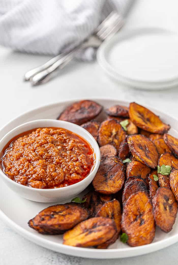 Fried Plantains with Hot Pepper Sauce