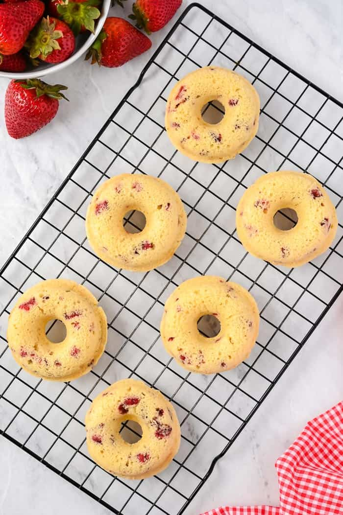 Strawberry and Cream Baked Donuts