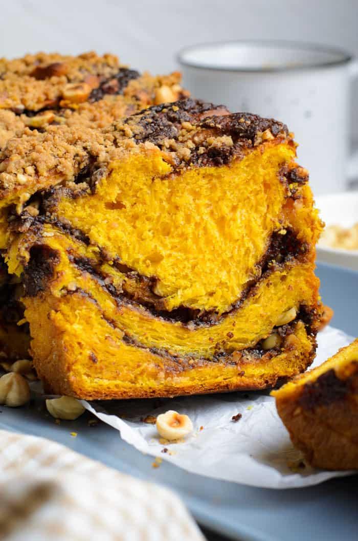 Pumpkin Hazelnut Streusel Babka