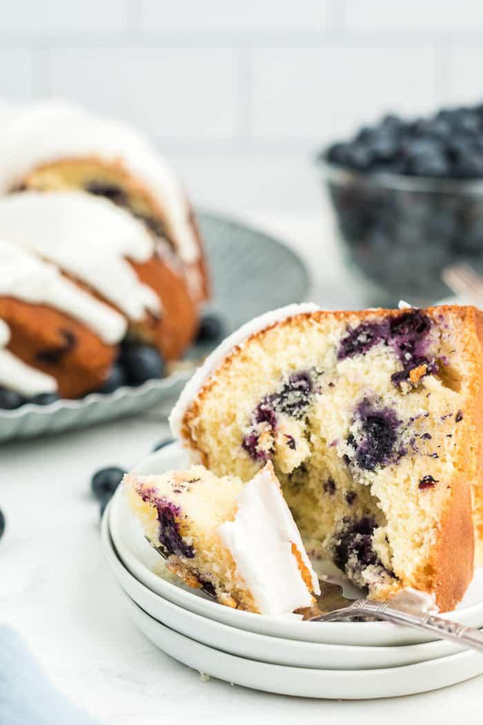 Blueberry Buttermilk Bundt Cake with Lemon Glaze